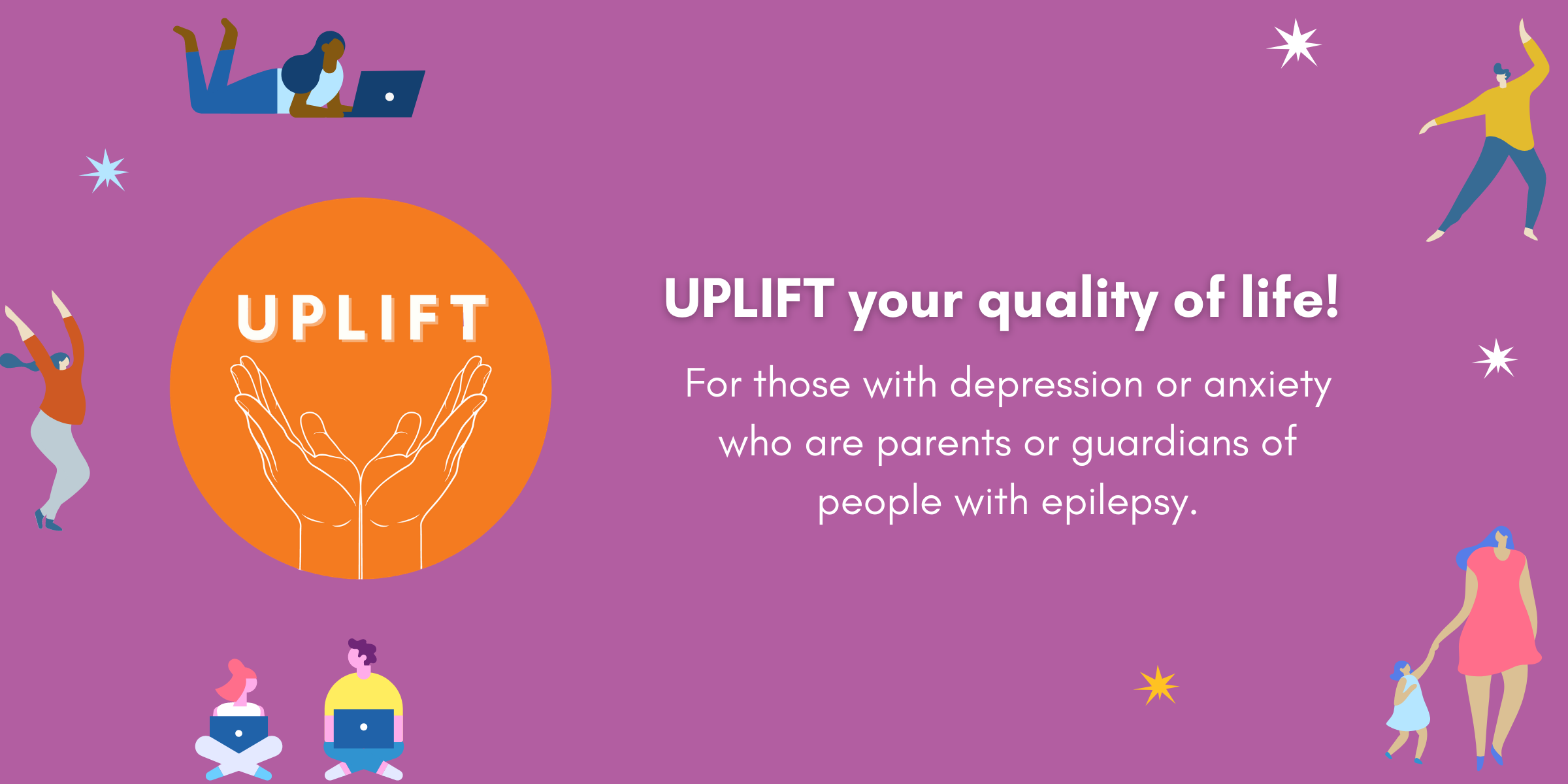 UPLFIT graphic - for those with depression or anxiety who are parents or guardians of someone with epilepsy/seizures